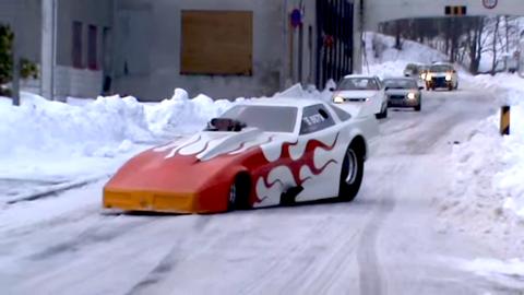 Funny Car Sliding in Snow