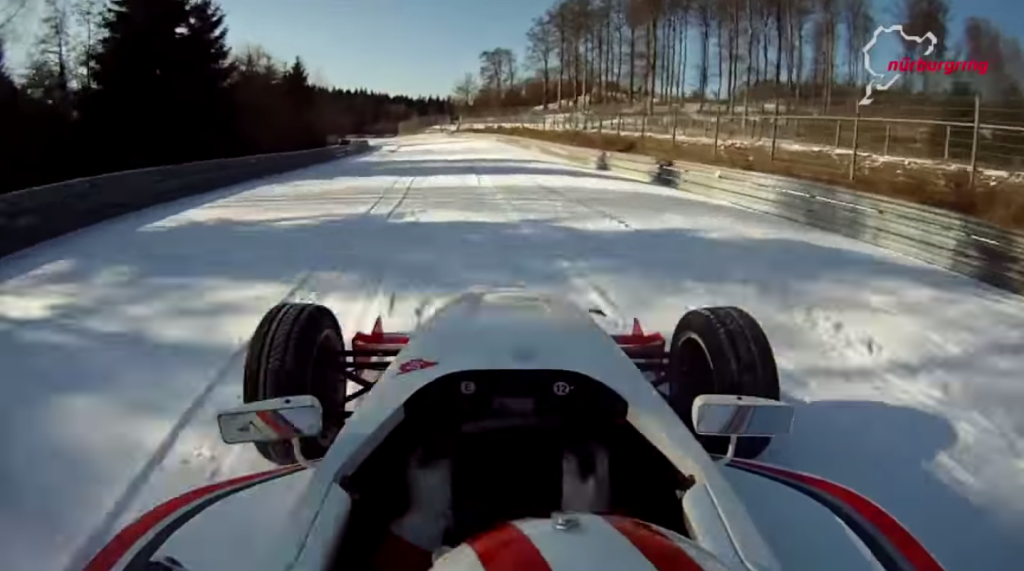 Watch a formula car attack the Nurburgring in 3-degree weather...in the snow