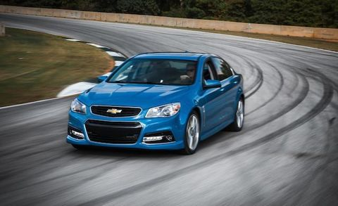 """Perfected in an era when """"runnin' shine"""" still was conceivably a line you might put on a résumé, the formula of combining a big V-8 with a four-door crapcan reached its pinnacle with the Chevrolet SS. Thing is, the limited-production SS is as far from a crapcan as you can get, stopping and turning with a nimbleness its ancestral forebears could only dream of. On sale for just a few months so far, 2386 potential runners signed on for SS duty in 2014."""