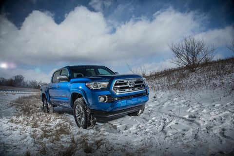 This is the 2016 Toyota Tacoma, completely uncovered and shot on location in Michigan ahead of the 2015 North American International Auto Show in Detroit.
