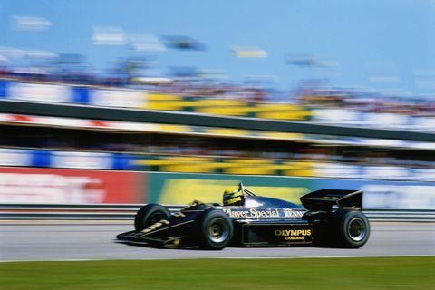 Ayrton Senna at the 1985 Brazilian GP