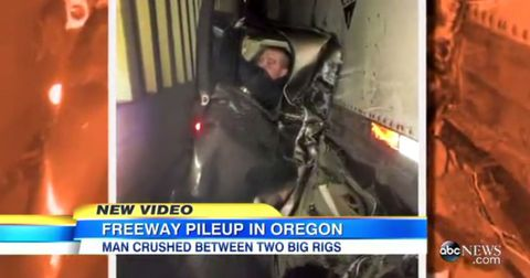 Man wedged between two semis walks away with Band-Aids