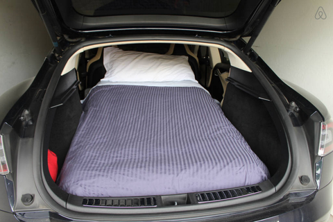 For $85 a night, you can sleep in a Tesla Model S