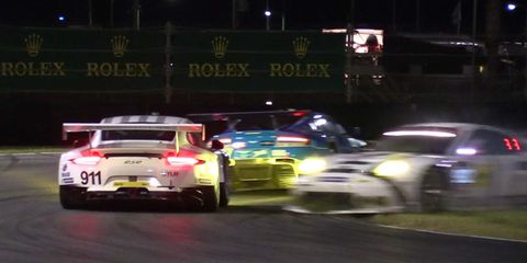 Porsches crash at the Rolex 24