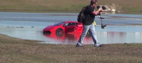 Watch a 2,000-hp Lambo crash into a pond