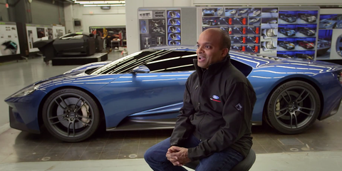 Raj Nair and the 2017 Ford GT in the design studio