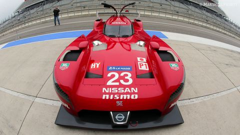 Nissan's new 2015 GT-R LM NISMO LMP1 is captured at Circuit of The Americas by Marshall Pruett on 12/17/2014 during the filming of Nissan's Super Bowl ad.