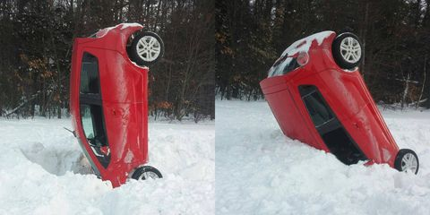 Nailed it! Chevy Aveo executes perfect snow landing