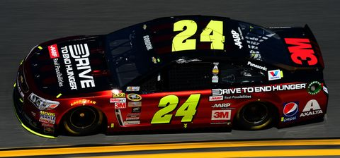 DAYTONA BEACH, FL - FEBRUARY 14: Jeff Gordon, driver of the #24 Drive To End Hunger Chevrolet, practices for the 57th Annual Daytona 500 at Daytona International Speedway on February 14, 2015 in Daytona Beach, Florida.  (Photo by Robert Laberge/NASCAR via Getty Images)