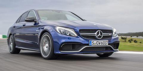 Mercedes-AMG C 63 S; Fahrvorstellung Portimao 2015; brillantblau metallic; Leder Nappa schwarz