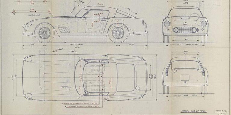 Buy these classic ferrari 250gt daytona blueprints tdf1959 original scaglietti blueprint malvernweather Choice Image