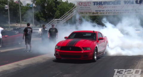 Watch this 1500 hp turbo Mustang destroy a GT-R