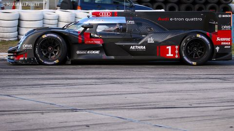 Testing at Sebring International Racing on March 4 with the new Audi R18, Nissan GT-R LM NISMo, and Tequila Patron ESM HPD ARX-04b ahead of the 2015 World Endurance Championship.   © Marshall Pruett 2015