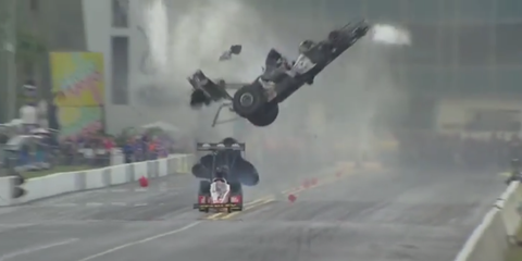 Three-time NHRA champ Larry Dixon walked away from this