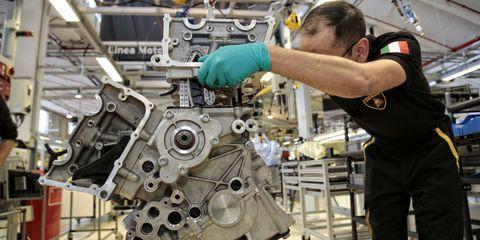 Assembling a Lamborghini V12 - Production Line Photos
