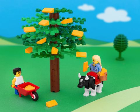 Lego photography of Wisconsin cheese and the Fonz.