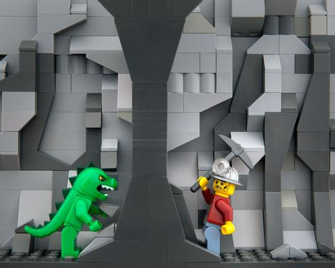 Lego photography of a West Virginia coal mine and underground monster.