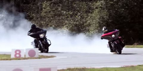Watch some enormous supercharged Victory cruisers drift