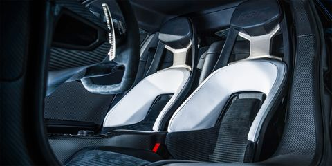 <strong>Carbon, carbon, everywhere</strong>  A carbon tub and active aero are modern-supercar de rigueur. The GT has both. In an odd disconnect, however, this most American of machines will be built elsewhere, with construction of race and street GTs outsourced to Canadian firm Multimatic. Ford plans to sell just 250 cars per year. All will have torsion bars and height-adjustable pushrod suspension.  <em>Photo by Andrew Trahan</em>