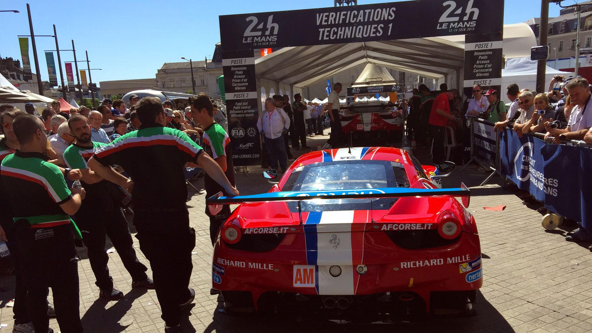 The AF Corse team waits patiently during scrutineering, © Marshall Pruett 2015, Le Mans, France