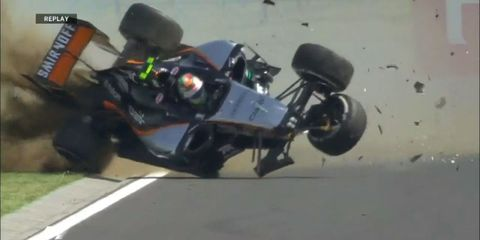sergio perez crash formula one