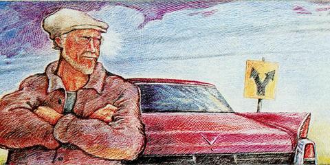 Automotive design, Hood, Art, Artwork, Paint, Painting, Illustration, Vehicle door, Classic car, Visual arts,