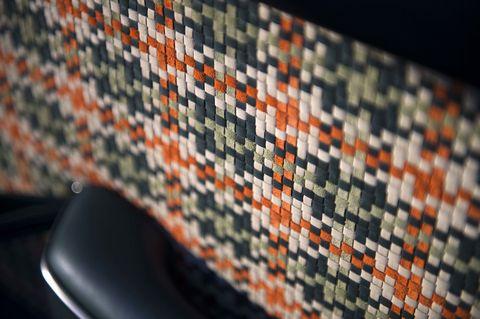 Textile, Orange, Pattern, Colorfulness, Creative arts, Close-up, Craft, Woven fabric, Weaving, Pattern,