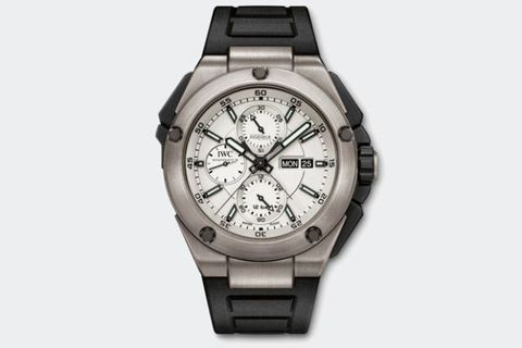 "<p>If you're a fan of F1 racing, this is a great choice. Balancing between the busy display of a complex chronograph and the sporty, go-anywhere look of a rugged digital watch, the split-seconds <a href=""http://www.iwc.com/en/collection/ingenieur/IW3865/"" target=""_blank"">Ingenieur Double Chronograph</a> is just at home at home as it is at the track. </p>"
