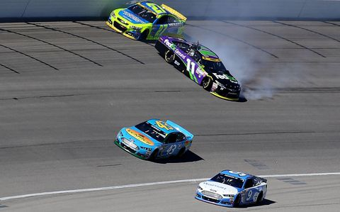 With Torn ACL, Denny Hamlin Spins and Wins at Chicagoland