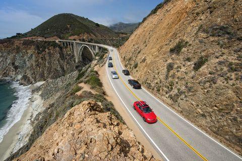 Road, Mode of transport, Mountainous landforms, Coastal and oceanic landforms, Automotive design, Infrastructure, Highland, Coast, Hill, Car,