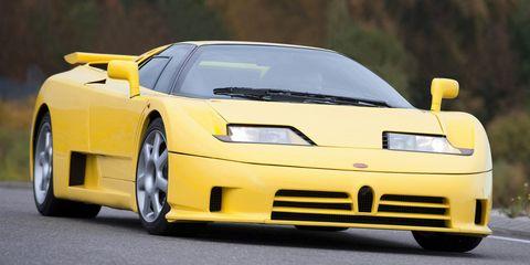 bugatti eb110 yellow