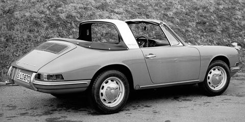 "<p>Porsche introduced the innovative <a href=""http://911evolution.com/911_20/911_20.htm"">Targa in 1965</a> as well. The prominent, protective rollbar defined this design, and the roof panel between it and the windshield could be removed, creating an open air experience for the driver.</p>"