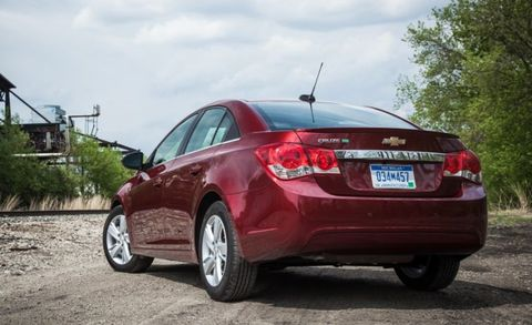 """<p>The Cruze cuts a distinctive profile with its boldly sculpted lines, featuring a roomy interior and a zippy engine to make it a legitimate contender among compacts. A 153-hp turbocharged 1.4-liter four-cylinder matched with front-wheel drive is the sole powertrain choice; a six-speed manual is standard and a six-speed automatic is optional. There's plenty of tech, with Apple CarPlay and Android Auto integration and 4G LTE Wi-Fi to make the Cruze a well-connected set of wheels. <a href=""""http://www.caranddriver.com/chevrolet/cruze"""">FULL COVERAGE ››</a></p>"""