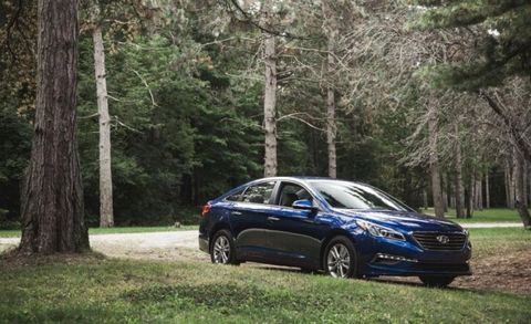 """<p>The Sonata features Genesis-inspired styling with a bit less flourish; it's contemporary, with powertrains to match. A 185-hp 2.4-liter four-cylinder with a six-speed automatic is standard; there is a 178-hp 1.6-liter Eco model with a seven-speed automatic as well as a hybrid model, for those seeking fuel efficiency. A 245-hp 2.0-liter turbo four with a six-speed automatic carves out the sporty end of the market. The suspension is supple and steering is pleasant. It's a good car, with no excuses needed. <a href=""""http://www.caranddriver.com/hyundai/sonata"""">FULL COVERAGE ››</a></p>"""