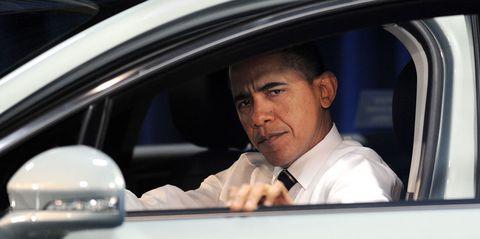 President Obama in Car