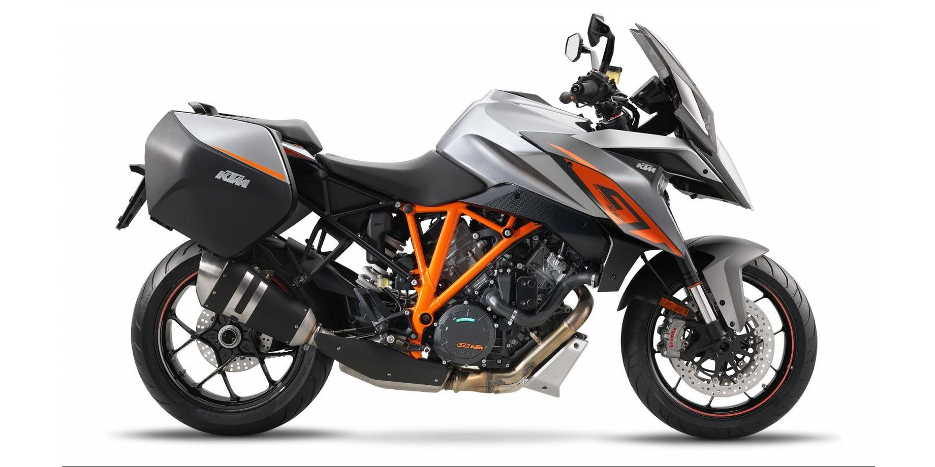 <p>KTM's astounding 173 horsepower LC8 engine finds a new home in the 1290 Super Duke GT, a sport-touring bike built for serious performance. Like other big KTMs, it features Bosch's MSC lean-angle-sensitive ABS and semi-active WP suspension, and the GT even includes a quick-shifter. Creature comforts like electronic cruise control, heated grips, and even Hill Hold Control will keep riders happy as they drain the large six-gallon fuel tank.</p>