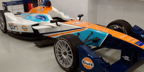 Gulf, an Oil Company, Is Sponsoring This Formula E Electric Race Car