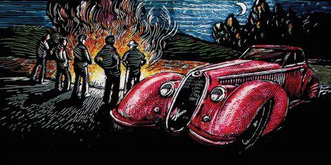 Motor vehicle, Automotive design, Automotive lighting, Headlamp, Classic car, Art, Grille, Glass, Antique car, Artwork,