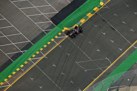 Green, Sport venue, Line, Asphalt, Race track, Parallel, Urban design, Lane, Racing,