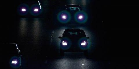 Motor vehicle, Mode of transport, Automotive design, Automotive lighting, Automotive exterior, Transport, Car, Headlamp, Purple, Light,