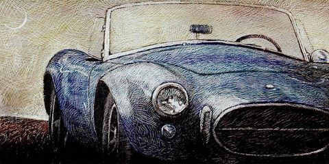 Automotive design, Classic car, Headlamp, Hood, Art, Automotive lighting, Paint, Classic, Drawing, Illustration,