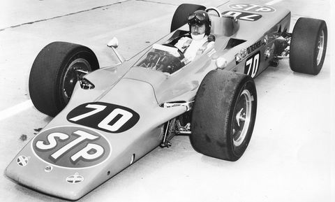 INDIANAPOLIS, IN - MAY 1968:  England's Graham Hill aboard one of Andy Granatelli's Lotus 56 4WD Turbine Cars at Indianapolis Motor Speedway. Hill crashed out of the race that year, earning a 19th place finish.  (Photo by ISC Archives via Getty Images)