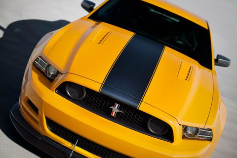 <p>The original Ford Mustang Boss 302 captured the magic of the muscle car era. The original 1969-1970 cars were higher-revving performance Mustangs built to be exceptional (for the time) handling machines. In 2012 Ford revived the legendary nameplate and packed the new Boss 302 with an upgraded 444-hp version of the new 5.0 (302 cid) V-8 that exhaled through a side exhaust with a downright ferocious growl and revved to 7500 rpm, rather astounding for a domestic V-8. The suspension was massaged for increased performance with lower, firmer springs and dampers.</p><p>The Laguna Seca Edition, named after the famed California racetrack, took that capability even further with an even more aggressive suspension tuning and a huge X brace that took the place of the rear seats. It reportedly added huge gains in body rigidity. The Laguna Seca Edition also wore a giant aero splitter on the front end and a larger wing out back for increased track grip at higher speeds. Less than two thousand were produced so it's already a one of the most rare and desirable modern Mustangs. </p>