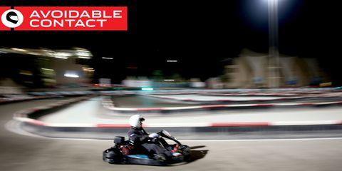 Clothing, Automotive design, Go-kart, Kart racing, Helmet, Sport venue, Race track, Racing, Motorsport, Competition event,