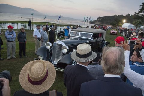 "One time in the Otis Chandler auto collection, John Shibles now owns this 1933 Lincoln. John drives this V-12 pre dawn, Sunday morning onto the 18th green at The Lodge at Pebble Beach. This annual ritual that has come to be known as ""Dawn Patrol. Every year, the world's auto enthusiasts travel to the Monterey Peninsula to participate in the Car Week that culminates with the luxurious Concours d'Elegance classic car competition.   PHOTOGRAPHED SUNDAY AUGUST 16, 2015 (Photo by Don Kelsen/Los Angeles Times via Getty Images)"