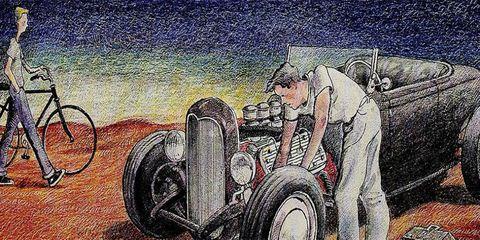 Motor vehicle, Automotive design, Automotive tire, Fender, Automotive wheel system, Art, Open-wheel car, Rim, Classic car, Auto part,
