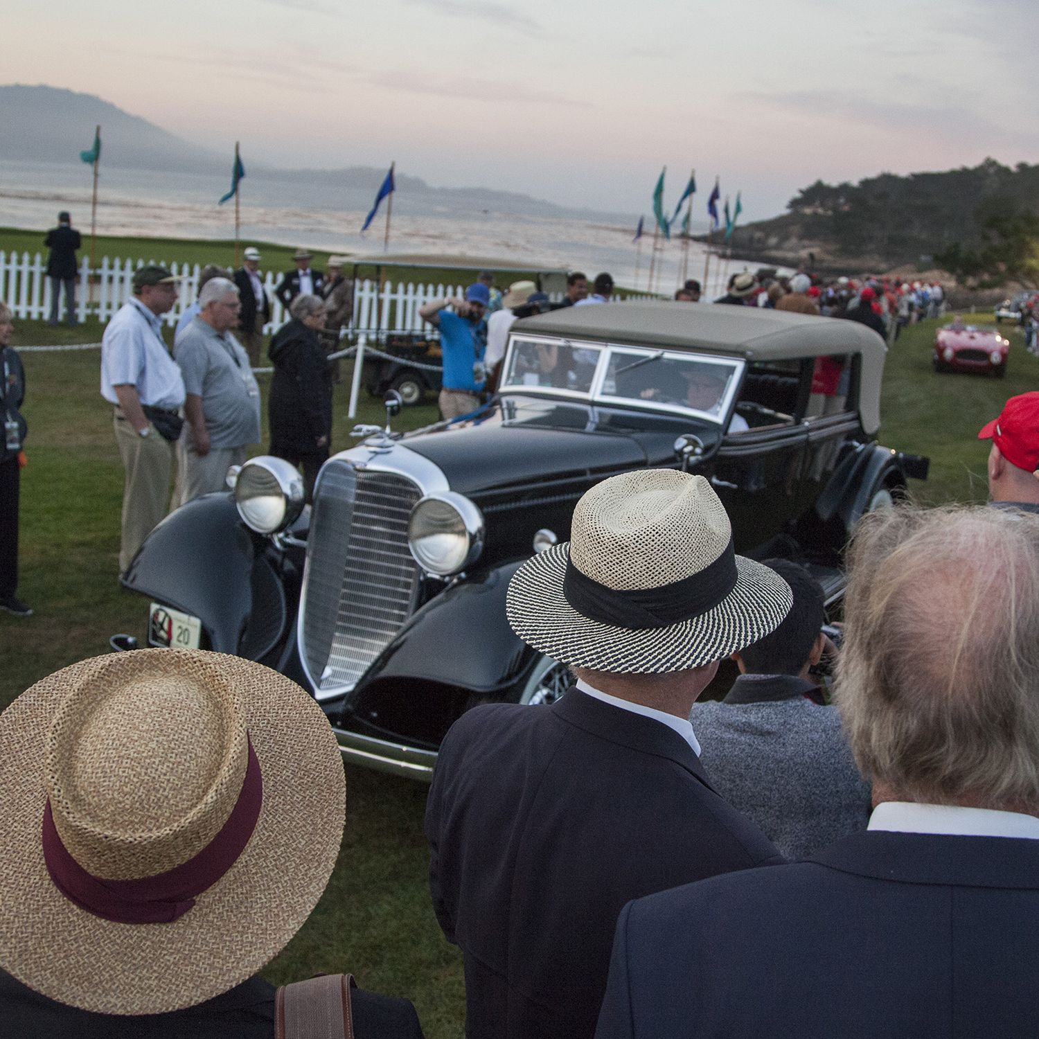 """One time in the Otis Chandler auto collection, John Shibles now owns this 1933 Lincoln. John drives this V-12 pre dawn, Sunday morning onto the 18th green at The Lodge at Pebble Beach. This annual ritual that has come to be known as """"Dawn Patrol. Every year, the world's auto enthusiasts travel to the Monterey Peninsula to participate in the Car Week that culminates with the luxurious Concours d'Elegance classic car competition. PHOTOGRAPHED SUNDAY AUGUST 16, 2015(Photo by Don Kelsen/Los Angeles Times via Getty Images)"""