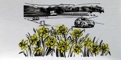 Motor vehicle, Yellow, Automotive design, Art, Artwork, Flowering plant, Illustration, Antique car, Painting, Drawing,
