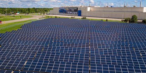 Blue, Solar energy, Technology, Solar panel, Solar power, Real estate, Land lot, Line, Slope, Sunlight,