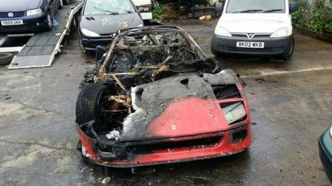 Ferrari F40 Burned Totaled RIP